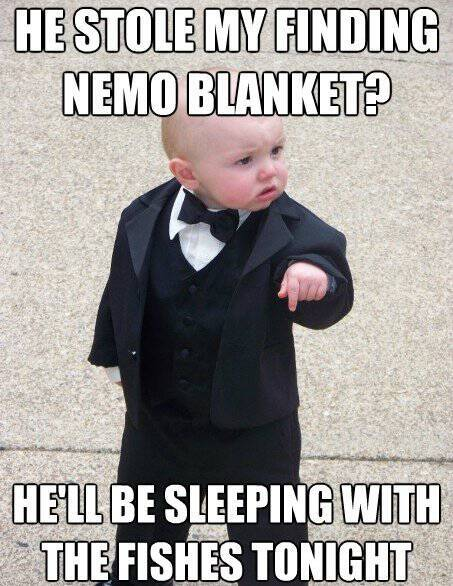 Baby Godfather Wants His Finding Nemo Blanket
