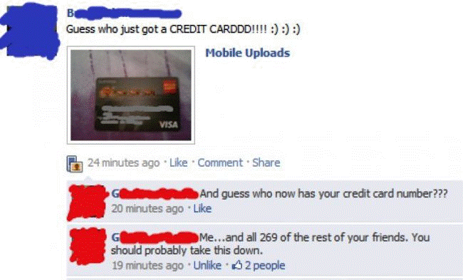 Credit Card On Facebook Post