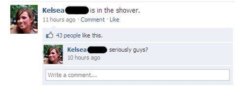Awkward Facebook Status In The Shower