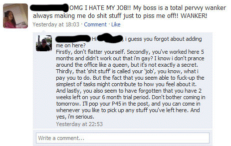 Talking About Boss Awkward Facebook Post