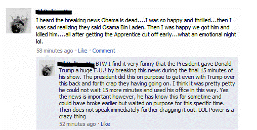 Dumb Facebook Status Osama Obama and Trump