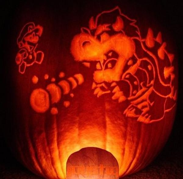 Awesome Halloween Jack-o-Lanterns Mario & Bowser Pupmkin