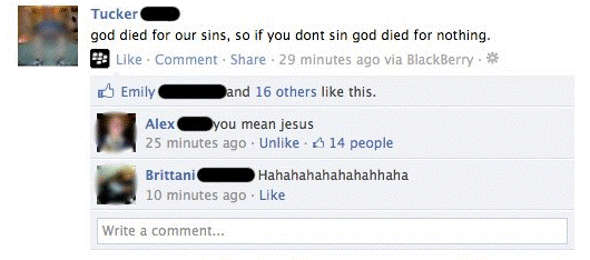 Funniest Facebook Statuses God Dies For Your Sins