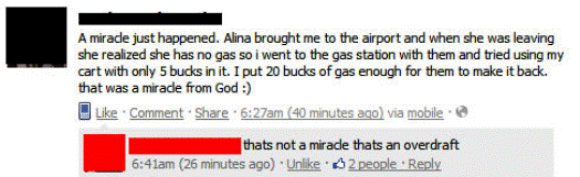 Overdraft Miracle Facebook Status