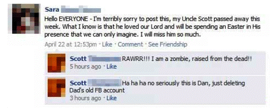 Funny Facebook Status Zombie Father