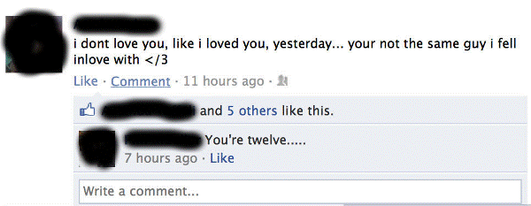 Funny Facebook Status You Are 12 Young Love