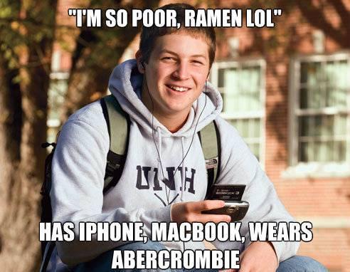 College Freshman Meme Thinks He's Poor