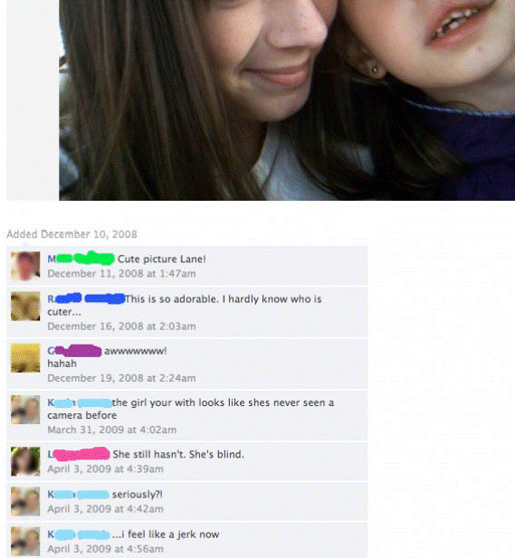 facebook blind girl The Nine WTFiest Facebook Conversations Ever
