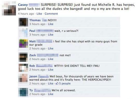 facebook herpes conversation The Nine WTFiest Facebook Conversations Ever