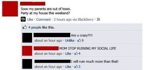 Kid Announces Party On Facebook