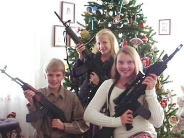 Awkward Christmas Cards Kids With Guns