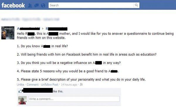 Facebook Friend Parents Questionnaire