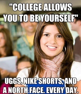 Sheltered College Freshman Uggs Meme