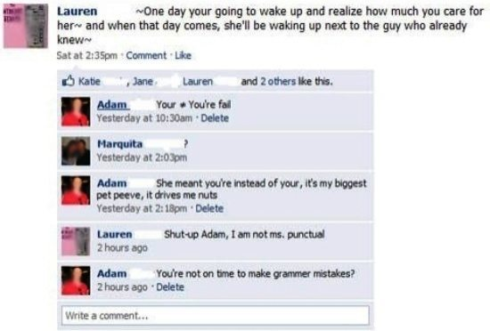 Hilarious Facebook Conversation Bad Grammar Romance