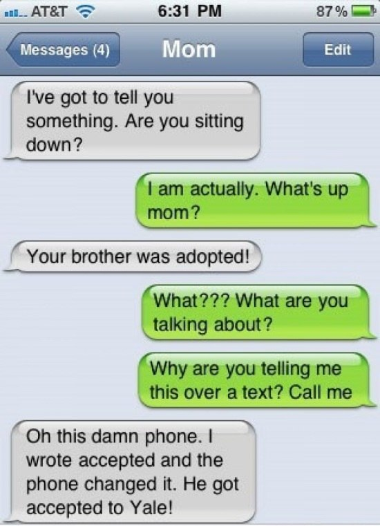Adopted Brother Via Text Fail