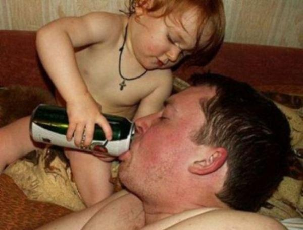 Baby Pours Beer In Dad's Mouth