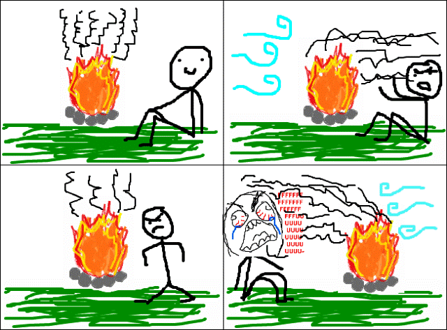 Classic Rage Comics Camp Fire Rage