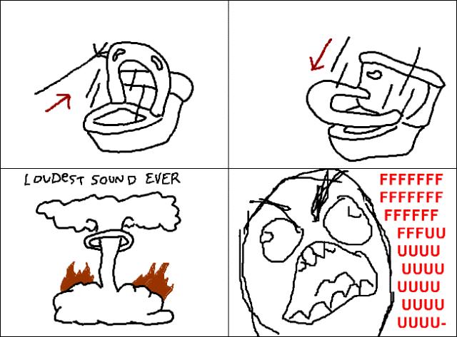 Rage Cartoon Toilet Lid Drop Rage