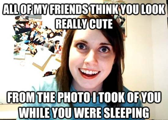 Overly Attached Girlfriend Sleeping Photo