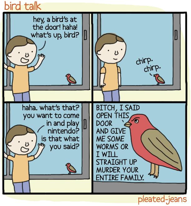 Pleated Jeans Bird Talk Comic