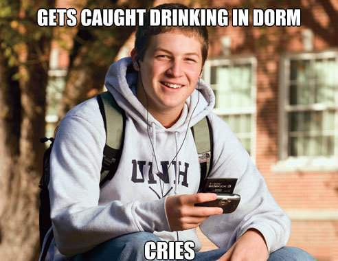 College Freshman Memes Caught Drinking