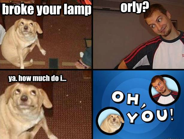 Oh, You! Owe You For Broken Lamp