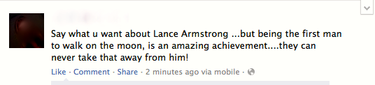 Lance Armstrong Facebook Post