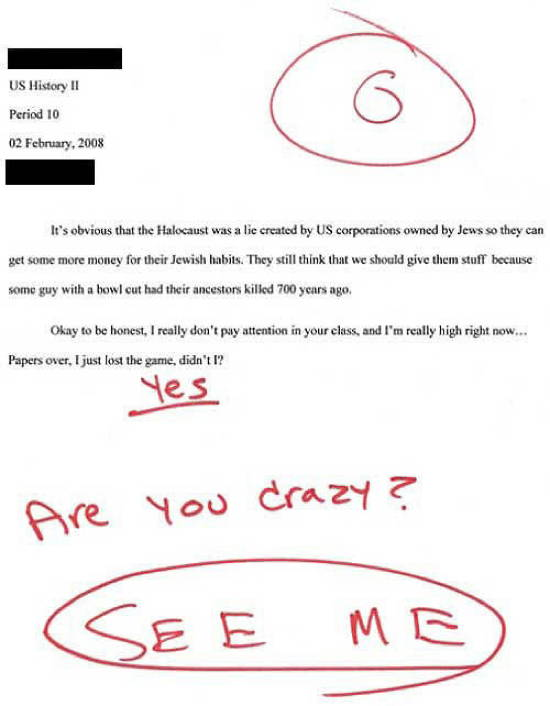 Funny Exam Answers Holocaust Essay