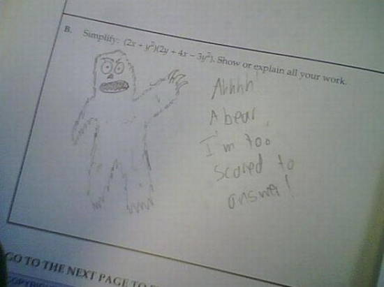 Bad Exam Answers Scared Bear