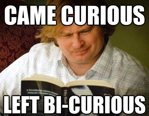 Curious Male Reading Fifty Shades Become Bi-Curious