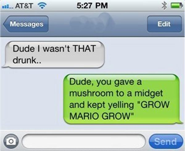 Grow Mario Drunk Texts