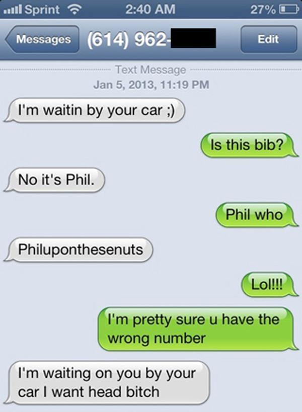 funniest wrong number texts bib