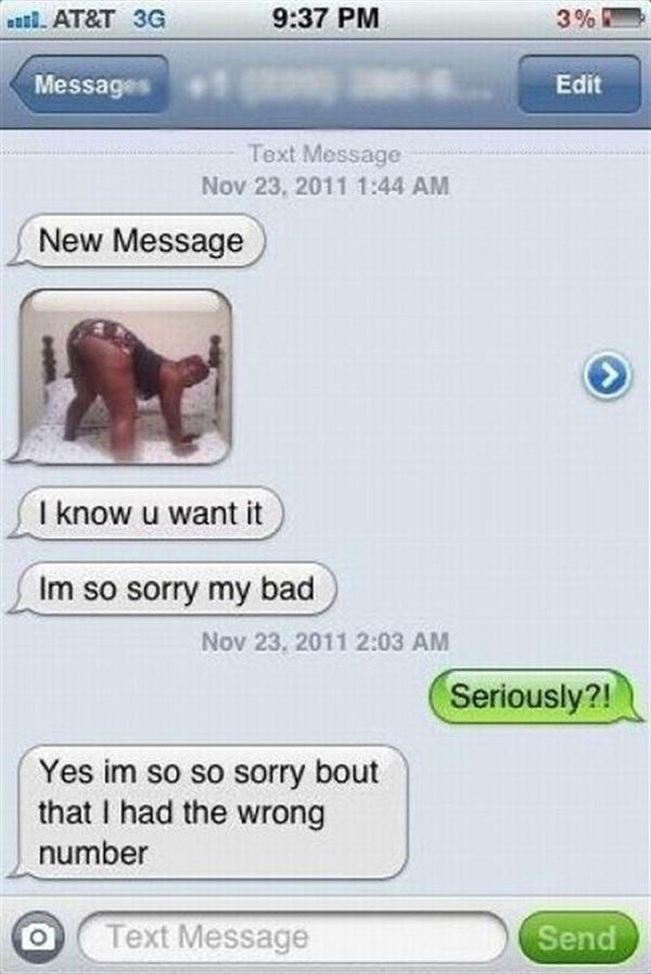 funniest wrong number texts butt