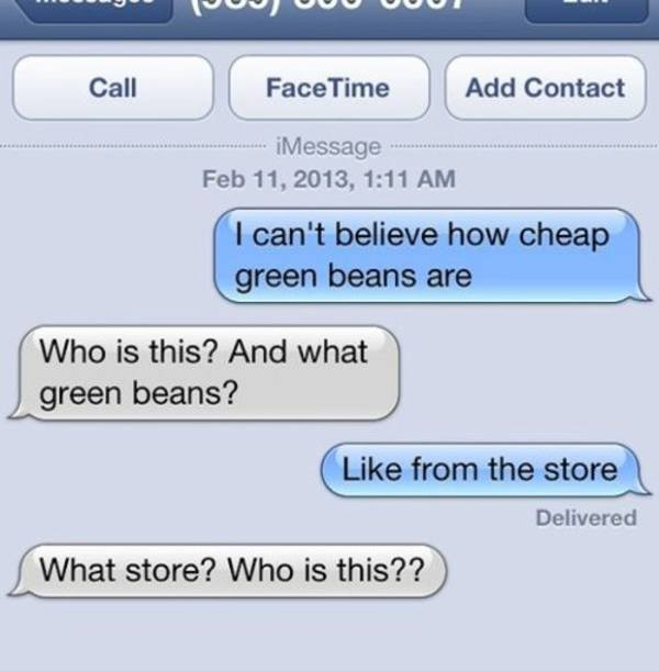 funniest wrong number texts greenbean