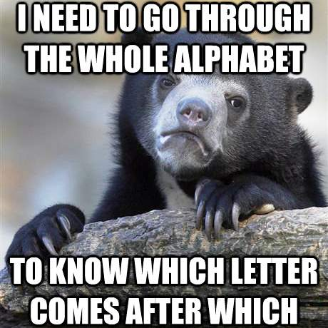 Confession Bear Reciting Alphabet