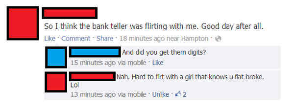 Bank Account Flirting Fail