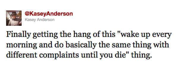 Kasey Anderson Tweet On Working