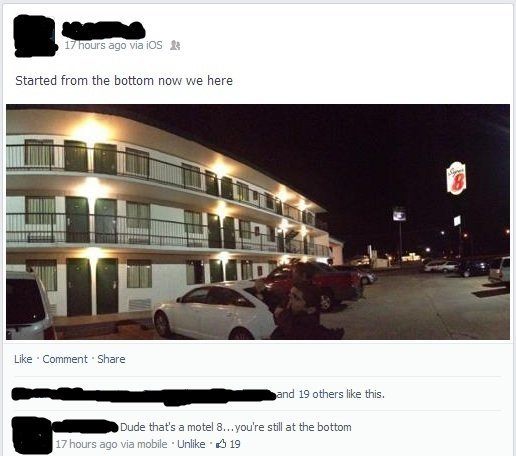Motel 8 Facebook Comment
