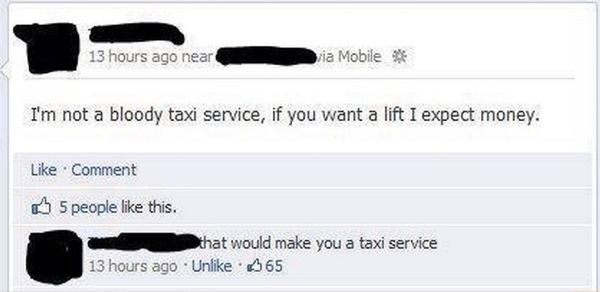 Funny Facebook Comments Taxi Service