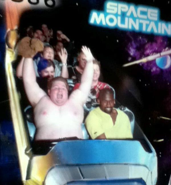 Crack boob flashing on a rollercoaster