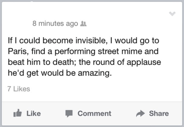 Facebook Status On Being Invisible