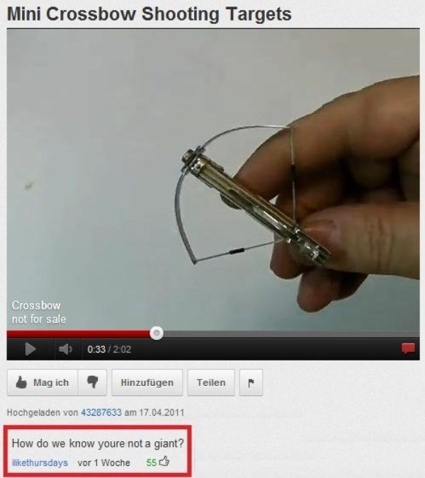 Funny Youtube Comment Mini Crossbow