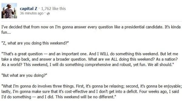 Talking Like A Politician Facebook Post