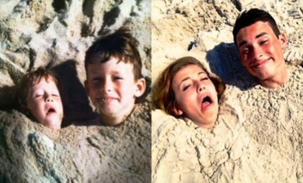 Recreated Childhood Photos Beach