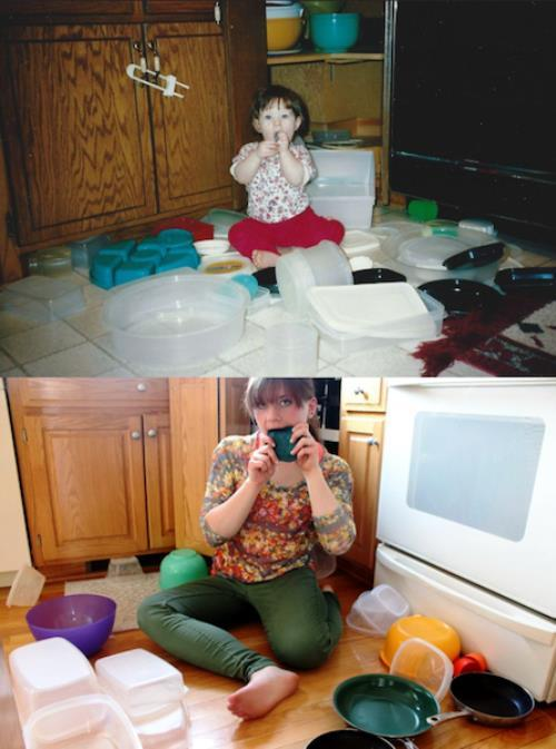 Recreated Childhood Photos Kitchen