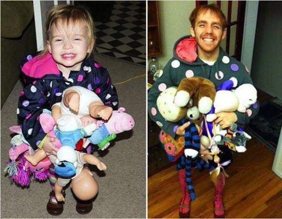 Recreated Childhood Photos With Stuffed Animals