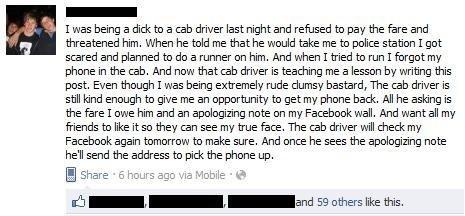 Cab Driver Gets Facebook Revenge
