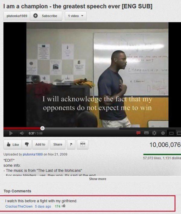 YouTube Comments Motivational Speech