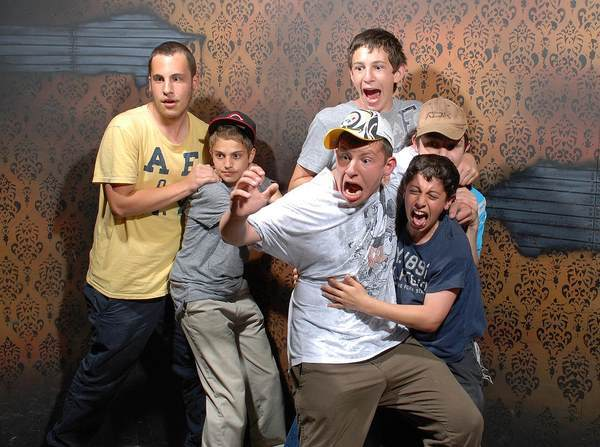 Frightened Bros At A Haunted House