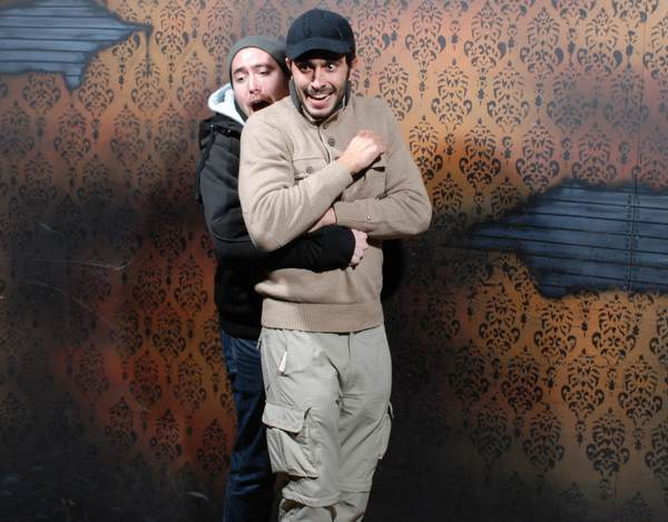 Bros Hug At A Haunted House